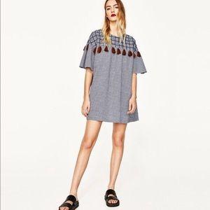 Zara Pom Pom Frilled Mini Dress Flounce Tunic